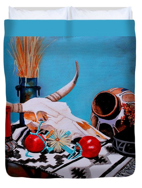 Duvet Cover featuring the painting Skull Still Life by M Diane Bonaparte