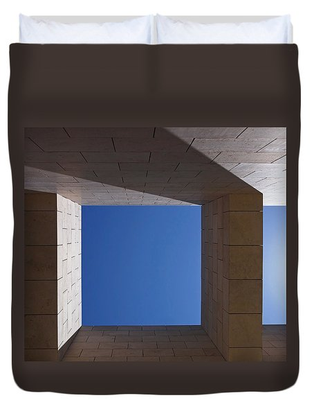 Duvet Cover featuring the photograph Sky Box At The Getty  by Rona Black