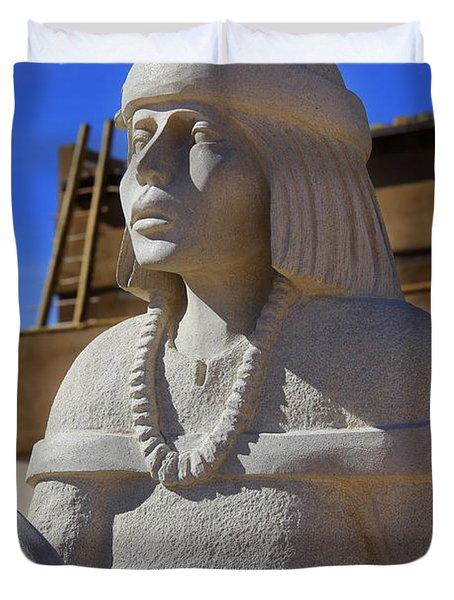 Sky City Cultural Center Statue Duvet Cover