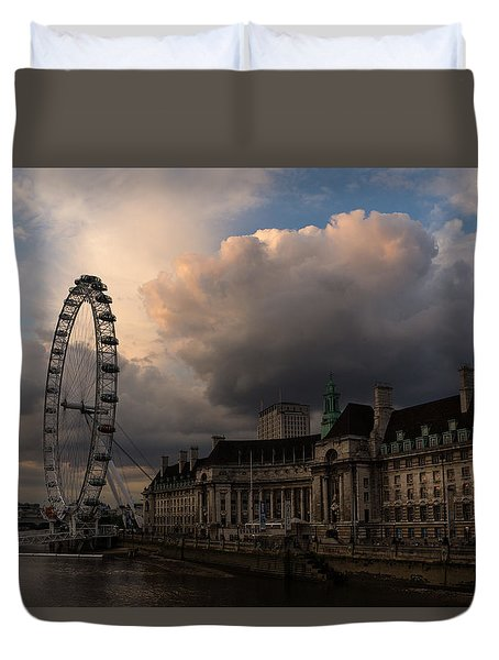 Sky Drama Around The London Eye Duvet Cover