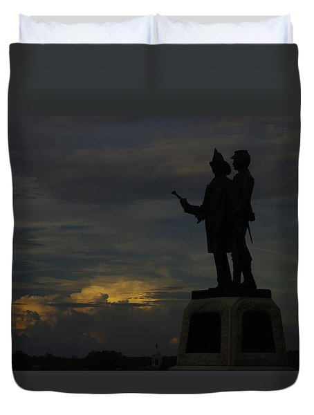 Sky Fire - 73rd Ny Infantry 4th Excelsior 2nd Fire Zouaves - Summer Evening Thunderstorms Gettysburg Duvet Cover by Michael Mazaika