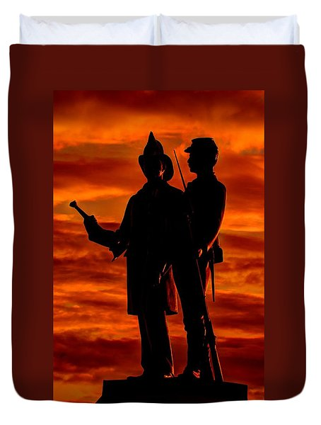 Sky Fire - 73rd Ny Infantry Fourth Excelsior Second Fire Zouaves-b1 Sunrise Autumn Gettysburg Duvet Cover by Michael Mazaika