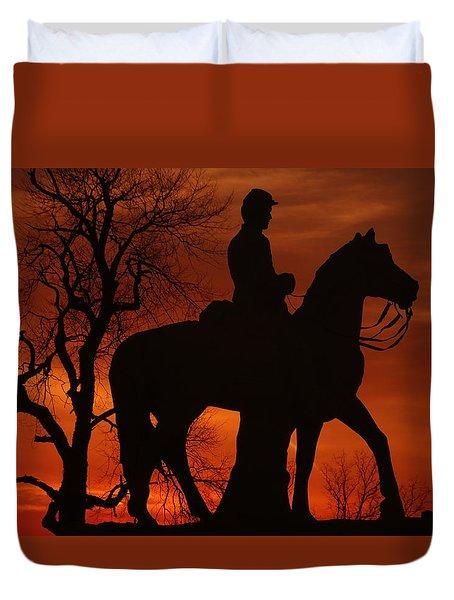 Duvet Cover featuring the photograph Sky Fire - 8th Pennsylvania Cavalry Regiment Pleasonton Avenue Sunset Autumn Gettysburg by Michael Mazaika