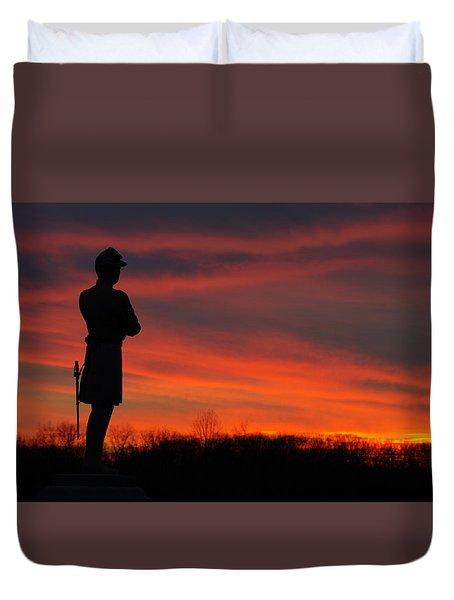 Sky Fire - Aotp 124th Ny Infantry Orange Blossoms-2a Sickles Ave Devils Den Sunset Autumn Gettysburg Duvet Cover by Michael Mazaika
