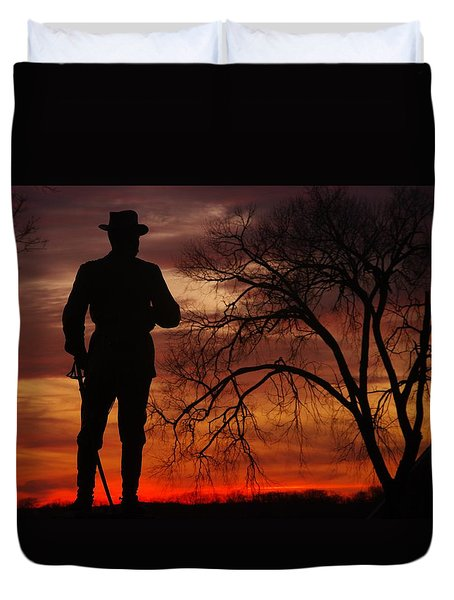 Sky Fire - Brigadier General John Buford - Commanding First Division Cavalry Corps Sunset Gettysburg Duvet Cover by Michael Mazaika