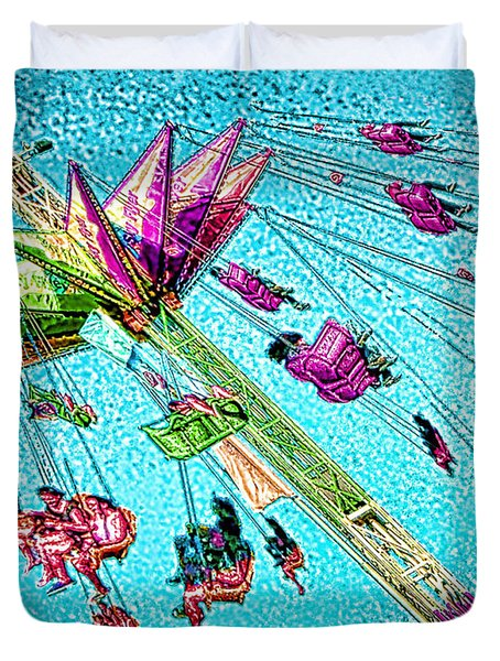 Duvet Cover featuring the digital art Sky Flyer by Jennie Breeze