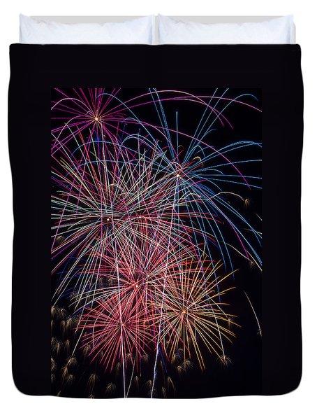 Sky Full Of Fireworks Duvet Cover by Garry Gay