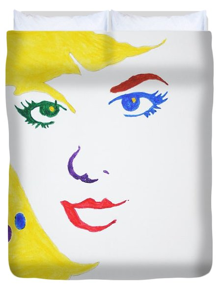 Duvet Cover featuring the painting Blonde Mother Nature by Stormm Bradshaw