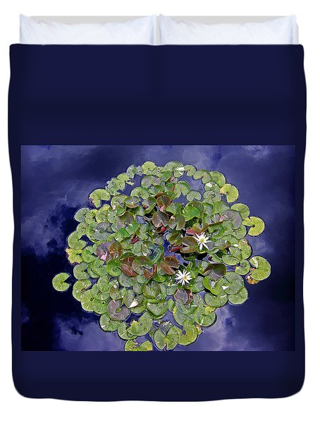Duvet Cover featuring the photograph Sky Lilies by Zafer Gurel