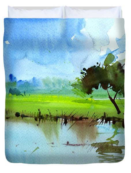 Sky N Farmland Duvet Cover by Anil Nene