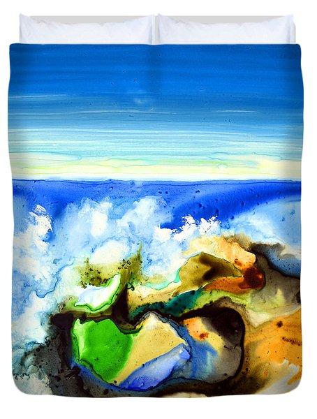 Duvet Cover featuring the painting Sky Ocean Rocks by Joan Hartenstein