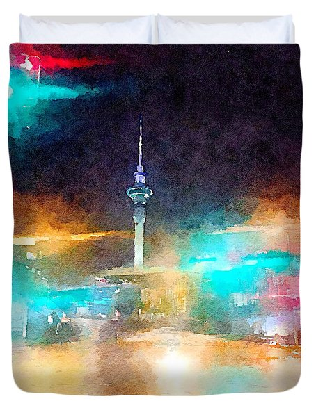Sky Tower By Night Duvet Cover