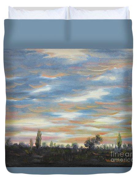 Duvet Cover featuring the painting Sky by Vesna Martinjak