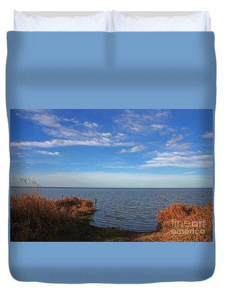 Sky Water And Grasses Duvet Cover by Nareeta Martin