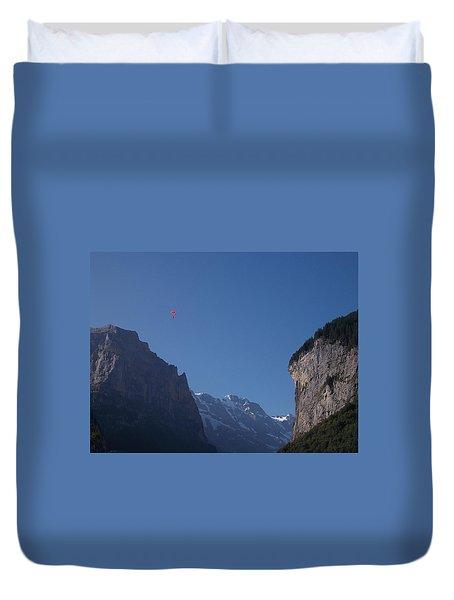 Skydiver Over Lauterbrunnen Duvet Cover