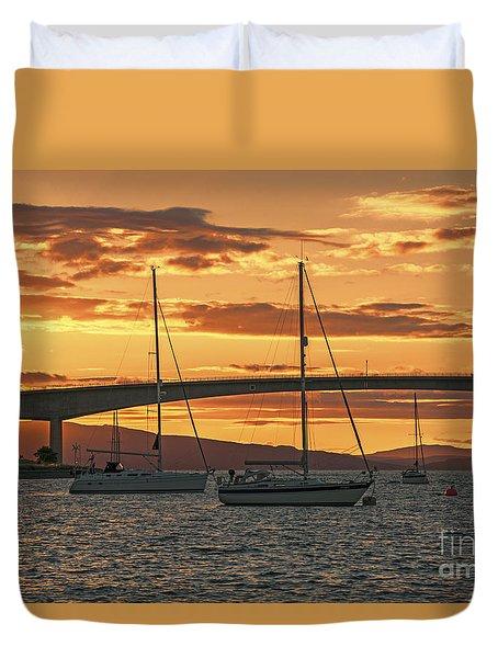 Skye Bridge Sunset Duvet Cover by Chris Thaxter