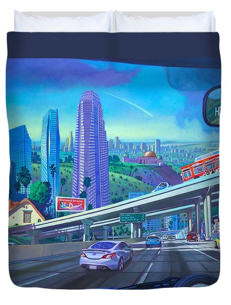 Duvet Cover featuring the painting Skyfall Double Vision by Art James West