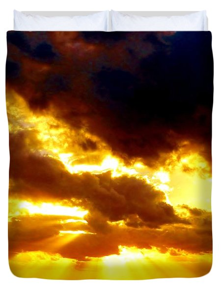 Duvet Cover featuring the photograph Skygold by Amar Sheow