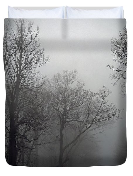 Skyline Drive In Fog Duvet Cover