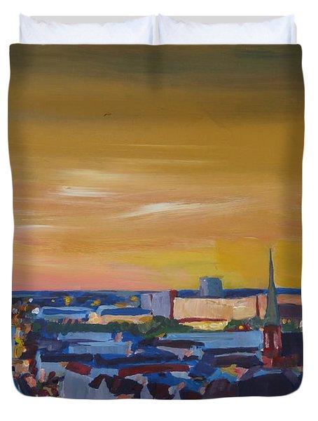 Skyline Of Berlin At Sunset Duvet Cover by M Bleichner