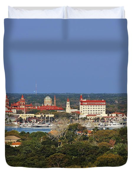 Skyline Of St Augustine Florida Duvet Cover by Christine Till