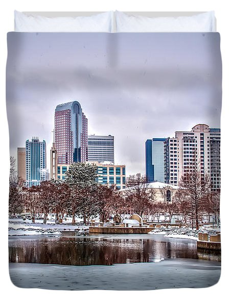 Duvet Cover featuring the photograph Skyline Of Uptown Charlotte North Carolina At Night by Alex Grichenko