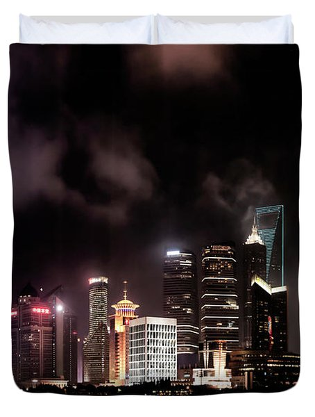 Skylines Lit At Night, Oriental Pearl Duvet Cover