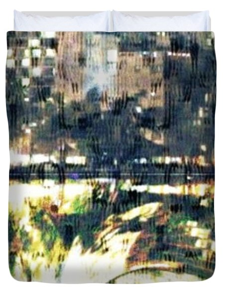 Skyscraper Reflection Painting Duvet Cover by PainterArtist FIN
