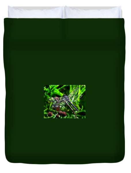 Duvet Cover featuring the photograph Slaty Skimmer Dragonfly by William Tanneberger