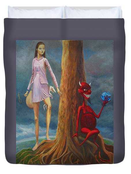 Slaying The Devil Who Eats My Dreams Duvet Cover by Mindy Huntress
