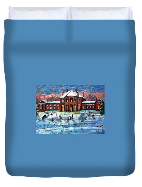 Sledding At The Gore Estate Duvet Cover