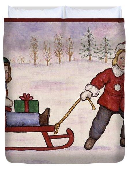 Sledding Duvet Cover by Linda Mears