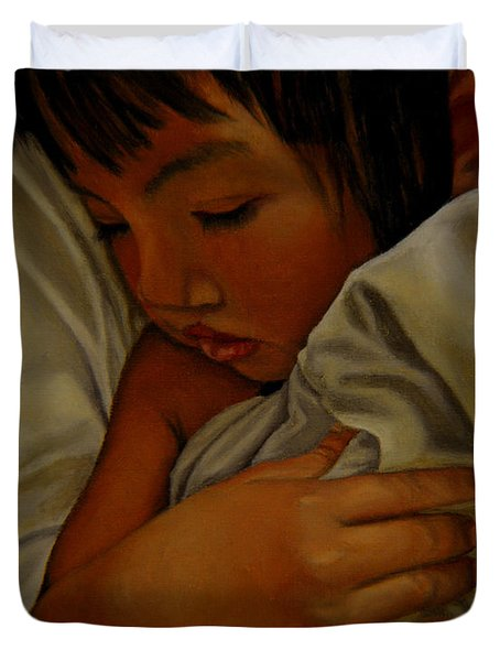 Duvet Cover featuring the painting Sleep by Thu Nguyen