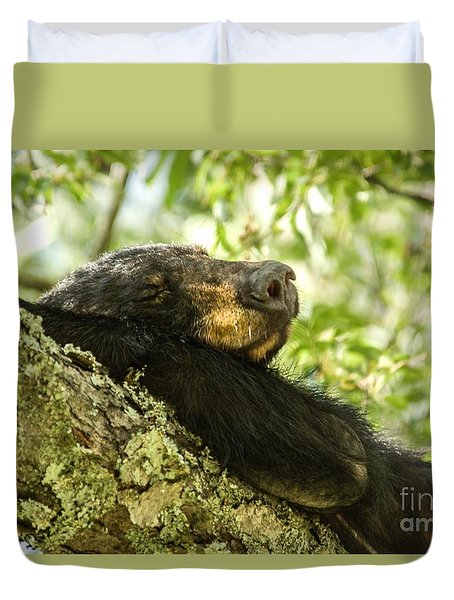 Sleeping Bear Duvet Cover by Debbie Green