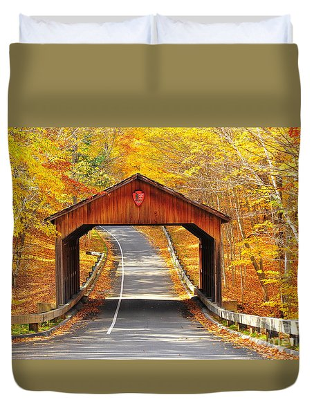 Sleeping Bear National Lakeshore Covered Bridge Duvet Cover by Terri Gostola