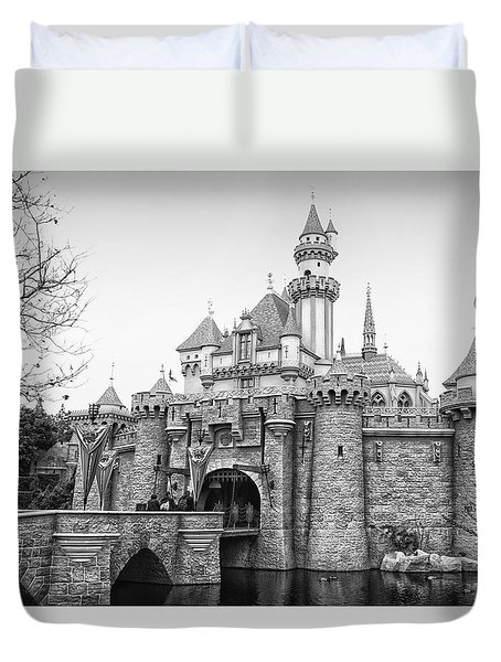 Sleeping Beauty Castle Disneyland Side View Bw Duvet Cover by Thomas Woolworth