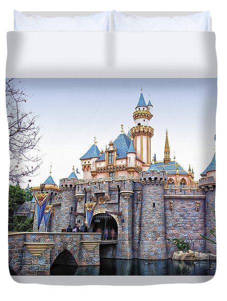 Sleeping Beauty Castle Disneyland Side View Duvet Cover by Thomas Woolworth