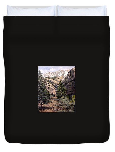 Duvet Cover featuring the painting Sleeping Faces In The Rock by Donna Tucker
