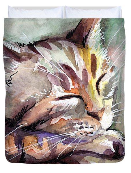Sleeping Kitten Duvet Cover by Olga Shvartsur