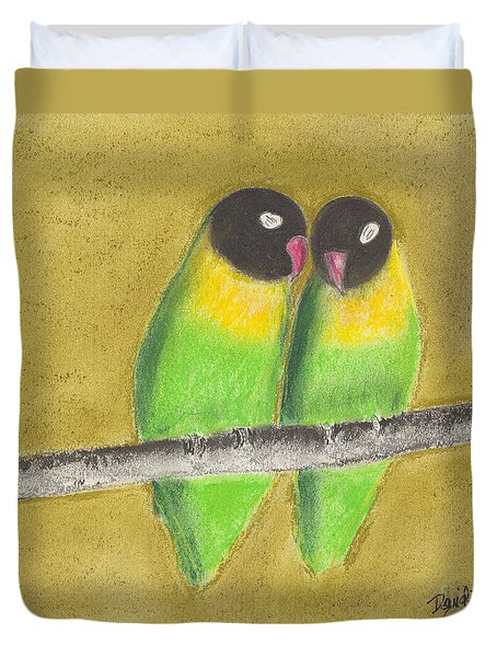 Duvet Cover featuring the pastel Sleeping Love Birds by David Jackson