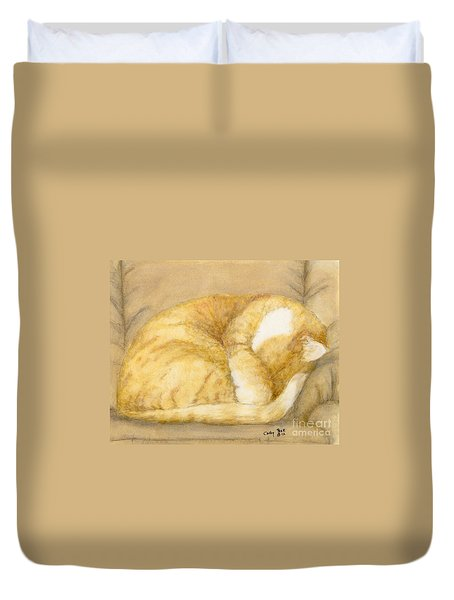Sleeping Orange Tabby Cat Feline Animal Art Pets Duvet Cover by Cathy Peek