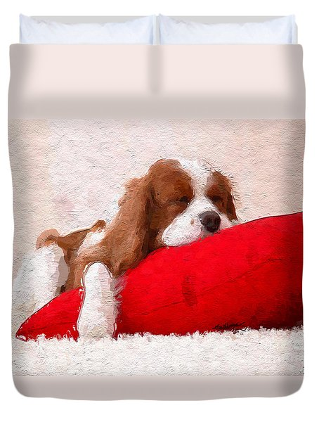 Duvet Cover featuring the digital art Sleeping Puppy On Red Pillow by Anthony Fishburne