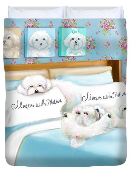 Sleeps With Maltese Duvet Cover