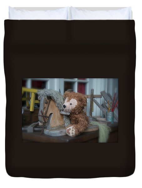 Duvet Cover featuring the photograph Sleepy Cowboy Bear by Thomas Woolworth