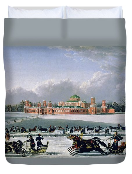 Sleigh Race At The Petrovsky Park In Moscow Duvet Cover