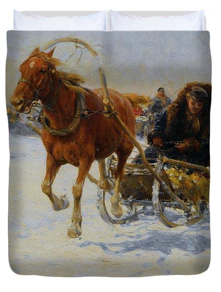 Sleigh Ride Duvet Cover by A Wierusz Kowalski