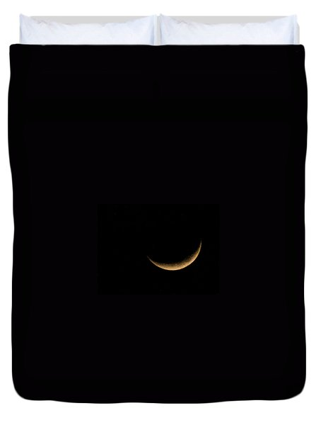 Duvet Cover featuring the photograph Slender Waxing Crescent Moon by Katie Wing Vigil