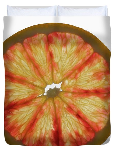 Slice Of Grapefruit, Backlit Duvet Cover