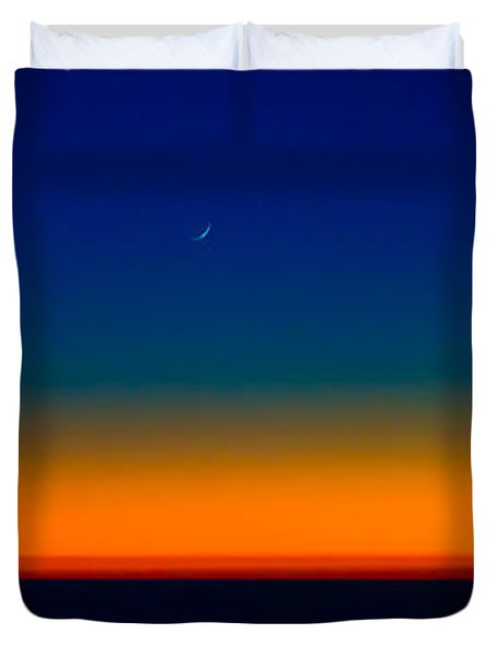 Duvet Cover featuring the photograph Slice Of Moon In The Night Sky by Don Schwartz