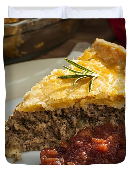 Slice Of Tourtiere Meat Pie  Duvet Cover by Elena Elisseeva